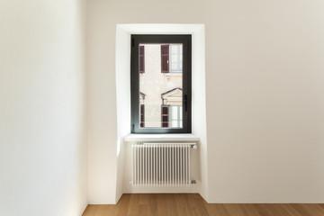 modern loft, empty room with window