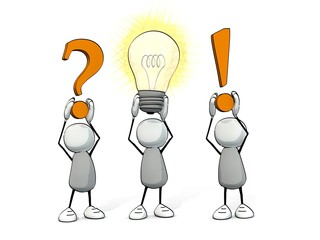 little sketchy men - question -  glowing light bulb - answer