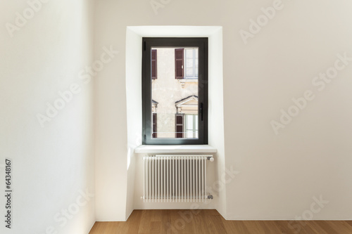 modern loft, empty room with window