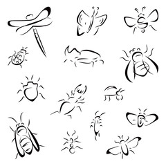 Collection of different insects black icons
