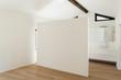 beautiful modern loft, room with white bathroom