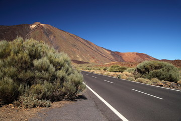 Straight road with El Teide in the background, Tenerife,