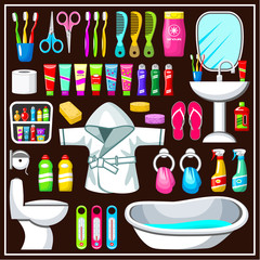 Bathroom equipment set.