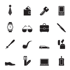 Silhouette man accessories icons and objects