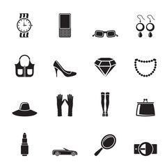Silhouette woman and female Accessories icons