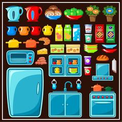 Set of kitchen furniture. Kitchen items.