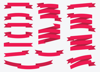 Red vector ribbons set isolated on background