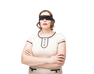 Blindfold plus size woman