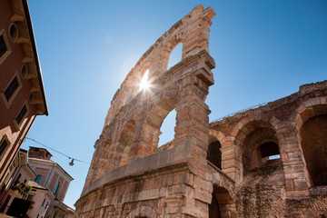 Italy, Verona, ancient amphitheater, rays of sun