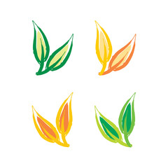 Abstract leaf icon set