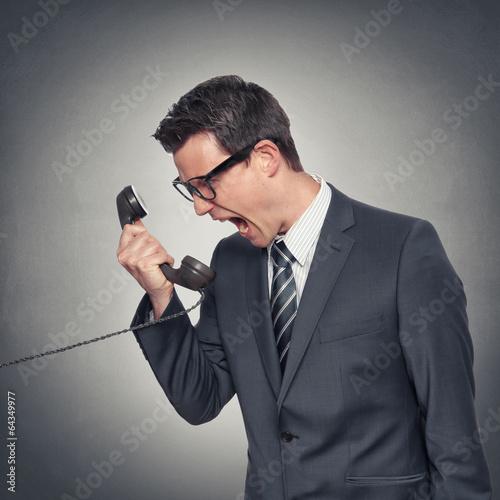 canvas print picture Mann schreit ins Telefon