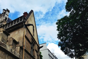 Cluny Museum with blue cloudy sky