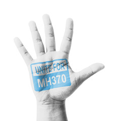 Open hand raised, Unite for MH370 sign painted