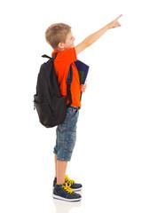 primary schoolboy pointing at empty copyspace