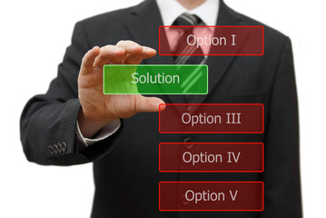solution concept, businessman choosing right solution