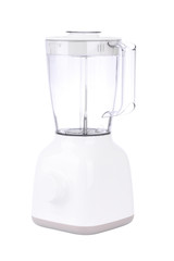 Side of empty electric blender on white background.