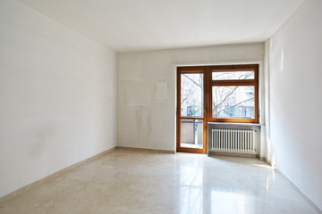 Empty room with marble floor in normal apartment