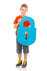 kid holding paper lock