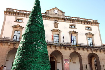 Town hall building and Christmas tree,Caceres. Spain