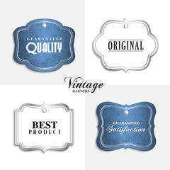 Vector vintage labels with text.