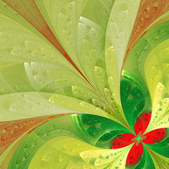 Beautiful fractal flower in green and red. Computer generated gr