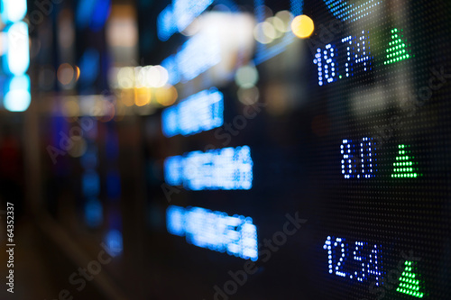 Leinwanddruck Bild Display of Stock market quotes