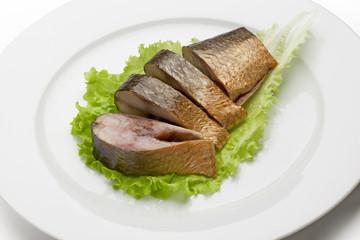 Smoked fish pieces