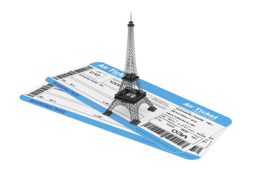 Airline boarding pass tickets with Eiffel Tower
