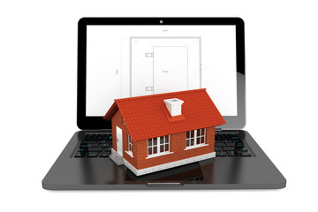 3d House over Laptop with House Project Blueprint