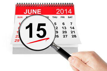 Father's Day Concept. 15 june 2014 calendar with magnifier
