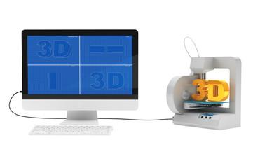 3d printer connected to desktop computer