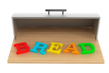Modern steel bread bin with bread sign