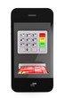 Online payments concept. Mobile Phone with ATM and Credit Card