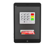 Online payments concept. Tablet PC with ATM and Credit Card
