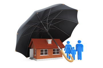 Black umbrella covers home and family