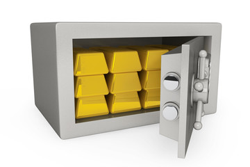 Security metal safe with golden bars