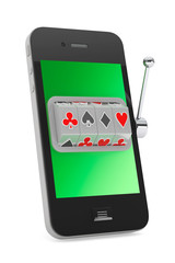 Online casino concept. Slot machine inside Mobile Phone