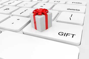 Extreme closeup gift box on a keyboard
