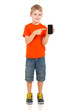 boy pointing at smart phone