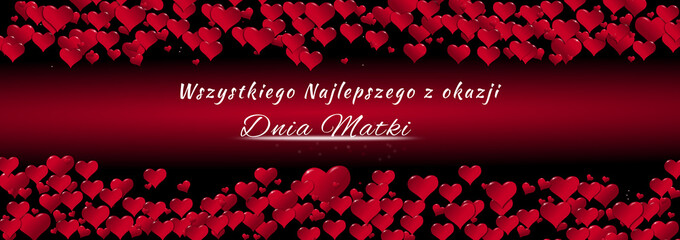 Banner of hearts for Mother's Day red background in Polish