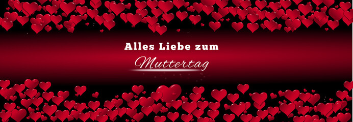 Banner of hearts for Mother's Day red background in German