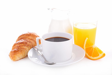 coffee, croissant and orange juice
