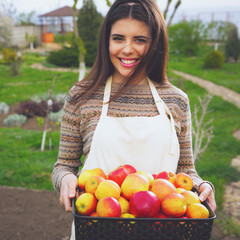 Smiling cute woman standing with basket apples in garden