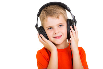 little boy with headphones