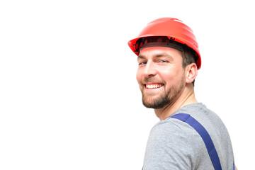 Bauarbeiter auf weißem Hintergrund