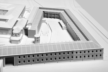 Model of a new building project in white color