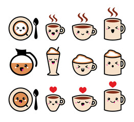 Cute coffee, cappuccino and espresso kawaii icon set - vector