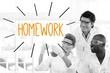 Homework against scientists working in laboratory