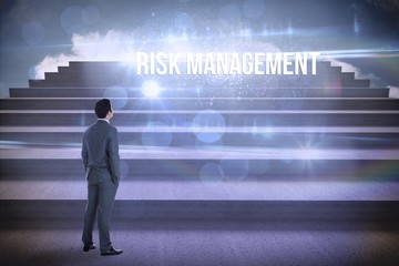 Risk management against steps against blue sky