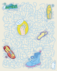 Maze game with shoes